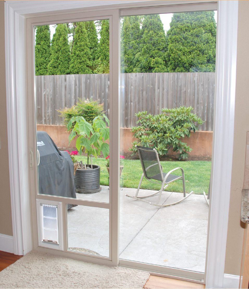 Sliding Glass Door with Doggy Door -  Window Replacement in South Jordan, Utah